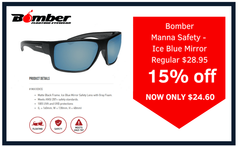 bomber eyewear manna safety ice blue mirror glasses on sale