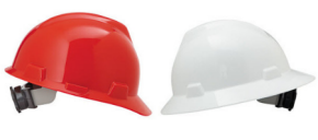 red cap style hard hat and white full brim style hard hat